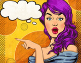 Pop Art illustration of girl with the speech bubble.Fashion - 80178985