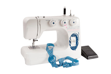 sewing machine with pedal white background