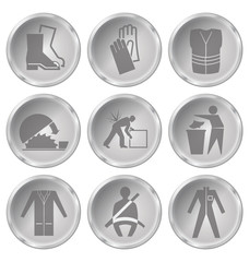 health and safety related icon set