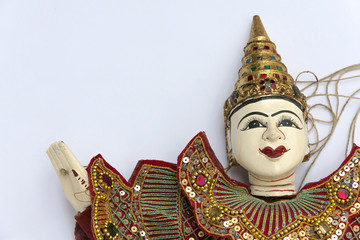 Burmese puppet on white background