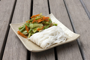 Spicy cucumber salad with noodle
