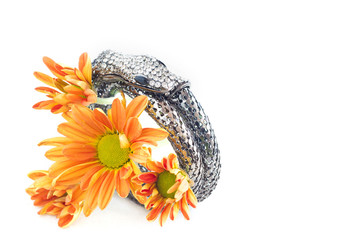 bangle silver and crytal snake shape design on vibrant flower