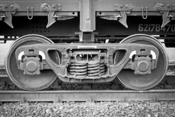 Wheelset railway wagon. Black-and-white front view