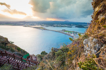 Songsan Ilchulbong view point in Jeju island, South Korea.