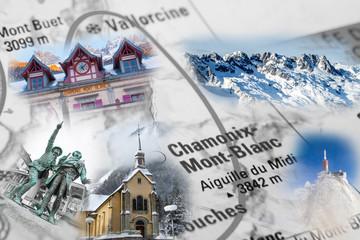 Collage with Chamonix landmark photos
