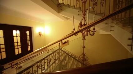 Old styled stairway and lighting in Hotel Hilton Leningradskaya