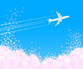 桜吹雪と飛行機1