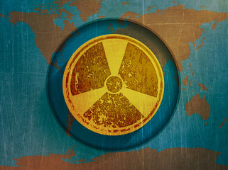 illustration of map of the world, a sign of radiation