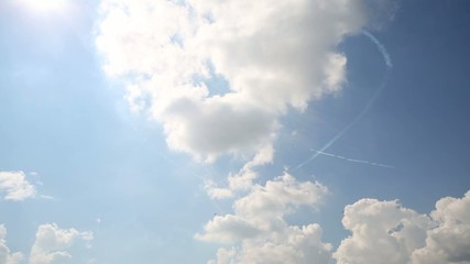 L-39 (Rus aerobatic team) draw heart in sky on air show