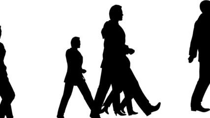 Silhouette of people walking, loopable.