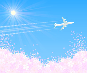 桜吹雪 太陽と飛行機1