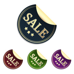 Sale sticker or label in elegant design and different colors