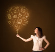 Businesswoman with a social media balloon