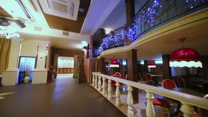 Interior of empty hall at restaurant in classical style