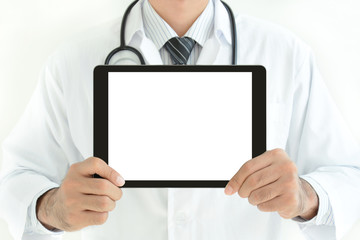 Doctor holding blank screen tablet pc