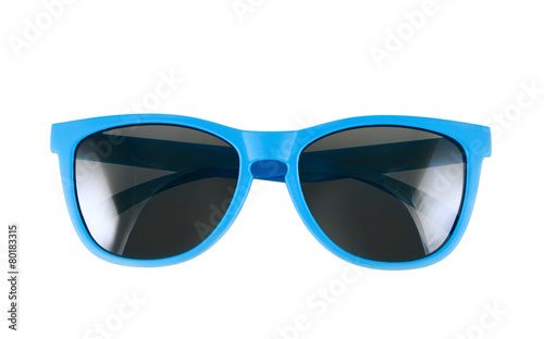 canvas print picture Blue sun glasses isolated