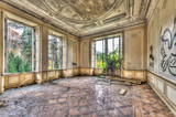Derelict luxurious room in an abandoned manor