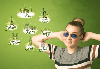 Happy young girl with sunglasses traveling to cities around the