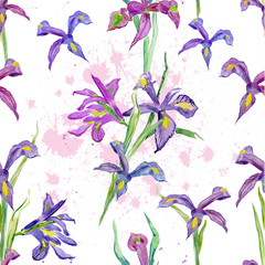 seamless texture. watercolor flowers. iris