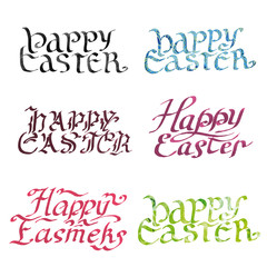 collection calligraphy inscription. happy easter. watercolor
