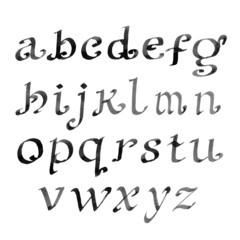 Hand drawn letters. vintage alphabet. ink