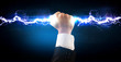 Business man holding electricity light bolt in his hands - 80185193