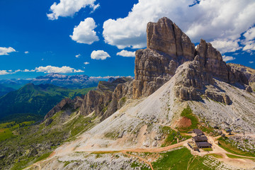 Monte Averau with Rifugio Averau, Dolomites, Italy