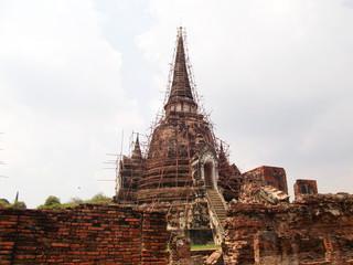 ancient pagoda restore in Ayutthaya historical park