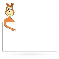 Cartoon monkey with sign board