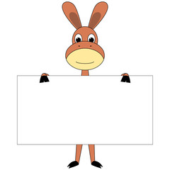 Cartoon donkey with sign board