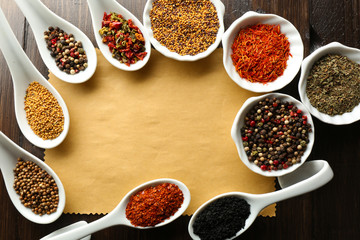 Different kinds of spices in bowls and spoons