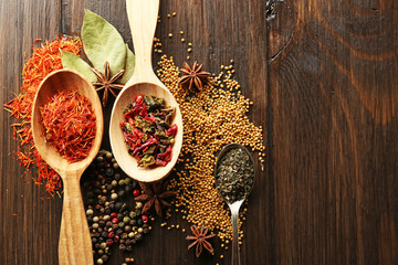 Different kinds of spices in spoons, close-up,