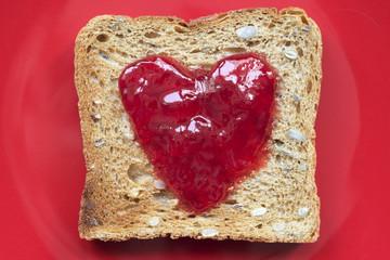 toast on red
