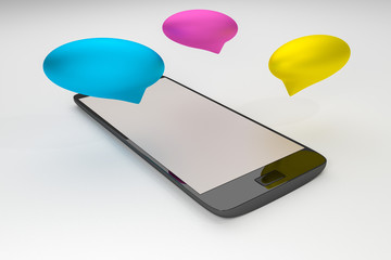 Smartphone and chat bubbles