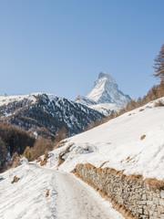 Zermatt, Walliser Dorf, Zmutt, Alpen, Wintersaison, Schweiz