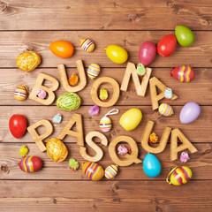 Easter wooden letter composition