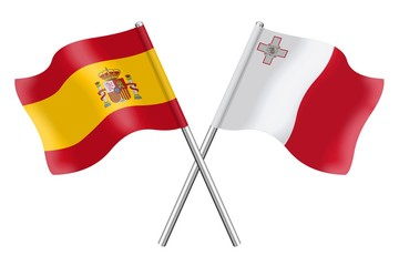 Flags: Spain and Malta