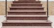 Leinwandbild Motiv Außentreppe aus rosa Granit frontal