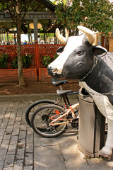 Spain. San - Sebastian. Sculpture cow on a city street