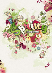 Spring theme created from watercolor and colored blots doodles