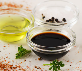 Bowl of Balsamic vinegar, salt and olive oil