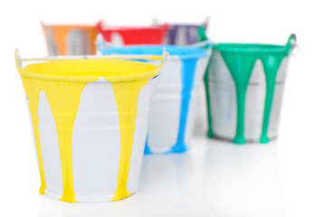 Buckets of paints close up