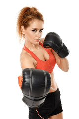 Athletic woman with boxing gloves
