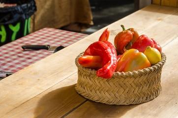 cesta de pimientos