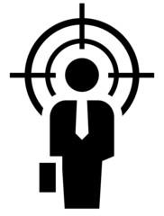 Businessman under crosshair icon