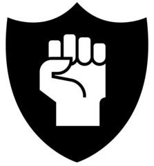 Fist on shield icon