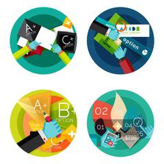 Set of option presentation labels, flat design web infographic