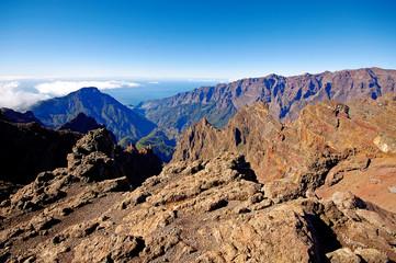 Landscape of Caldera de Taburiente from La Palma