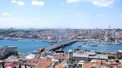 Galata Bridge connects two parts of Istanbul, time lapse