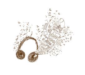 Headphones doodle art background